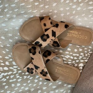 Coconuts by Matisse leopard slides